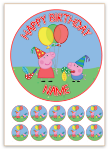 Peppa Pig PERSONALISED Edible WAFER Cake Topper Image ...