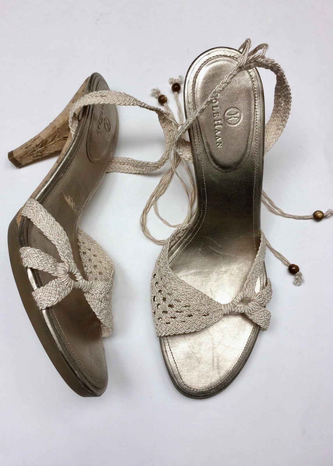 NEW Cole Sling Haan 8.5/9 Cream Gold Crotchet Open Sling Cole Back Peep Toe Cork Heel Shoe f6df1e