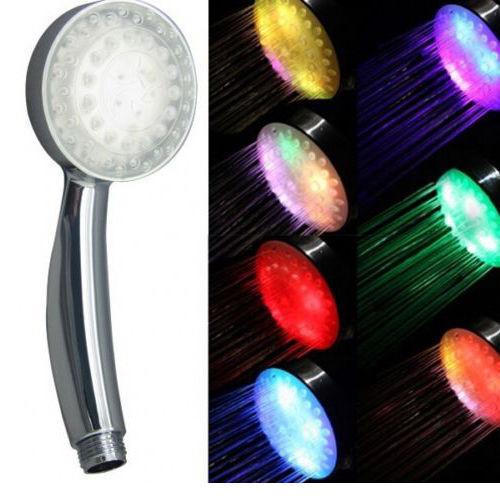 Neue Multi Color Bunte LED Kopf Licht Up Disco Wasser Energien Bad Dusche RA