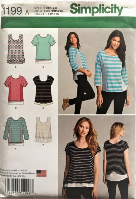 Simplicity Sewing Pattern 1199 Misses Stretch Knit Tops Shirts Sizes