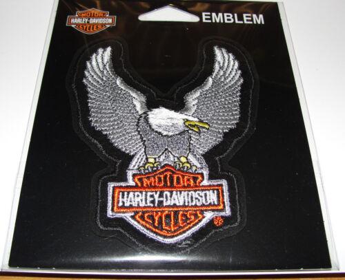 HARLEY DAVIDSON BAR/&SHIELD UPWING SILVER EAGLE CLOTH PATCH EMBLEM