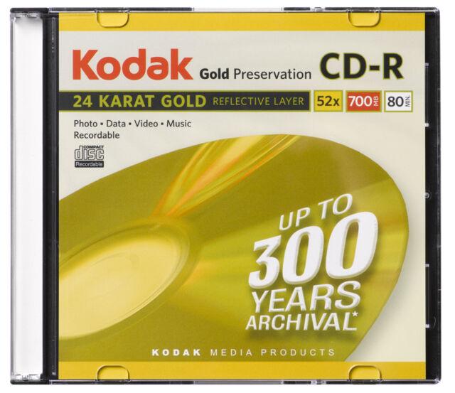 10 Pack Kodak 24 Karat Gold Preservation CD-R Blank 700MB