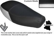 WHITE & BLACK CUSTOM FITS PIAGGIO VESPA ET2 ET4 125 DUAL LEATHER SEAT COVER