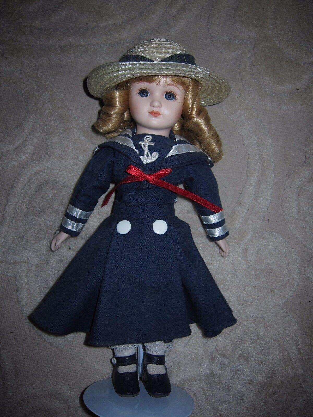 Vintage sailor girl porcelain doll, navy dress anchor straw hat, 14