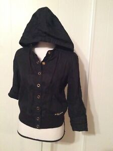 G-by-Guess-branded-Modele-Black-Linen-JACKET-Hood-3-4-sleeve-Snap-Pocket-size-L