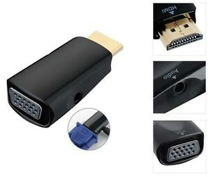 HDMI-Stecker-zu-to-VGA-Audio-Kabel-Konverter-TINY-Adapter-1080p-Full-HD-HDTV