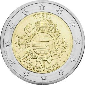 2€ ESTONIE 2012 - 10 ANS DE L'EURO - sortie de rouleau en UNC