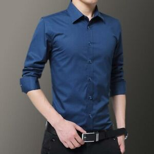 Fashion-Tops-Casual-Slim-Fit-Men-039-s-Luxury-Long-Sleeve-Dress-Shirts-Business