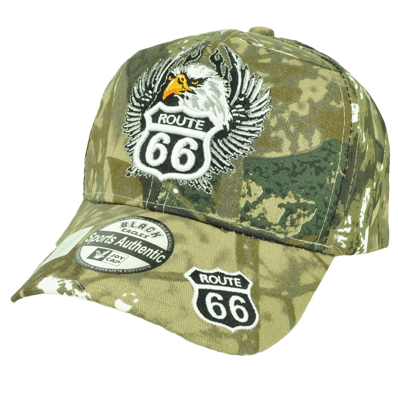 US ROUTE 66 EAGLE CAP HAT BLACK NEW