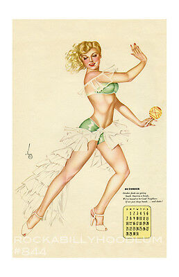 New Pin Up Girl Poster 11x17 Alberto Vargas Calendar March 1944 tiki hula
