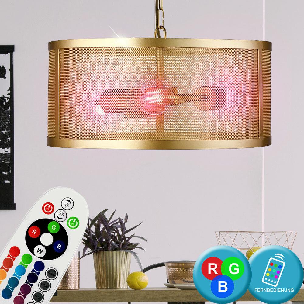RGB LED Decken Lampe Pendel Käfig Dimmer Gold Retro Hänge Leuchte Farbwechsel