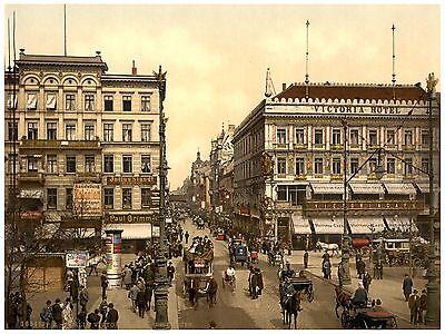 1890 Papier Leinwand Berlin Unter den Linden ca