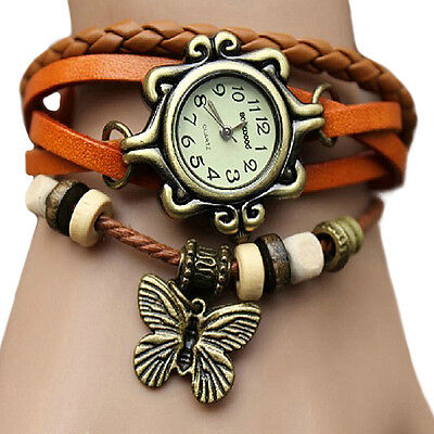 Retro Butterfly Bracelet Watch Womens Weave Leather Band Quartz Wrist Watch B32U
