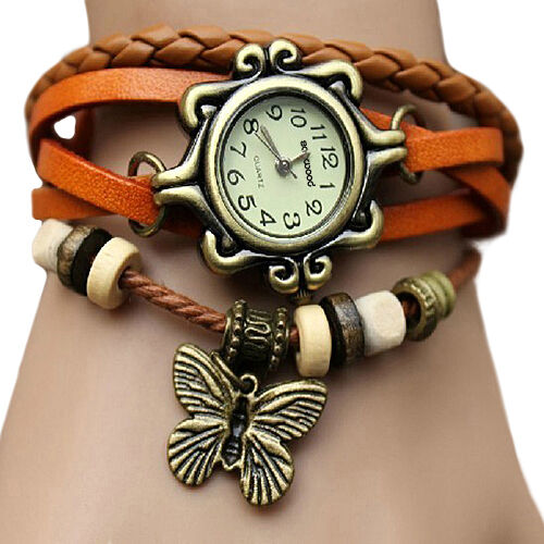 Fashion Lady Women Bangle Design Woven Leather Bracelet Quartz Wrist Watch