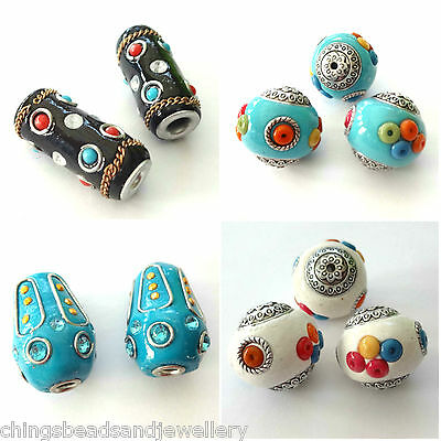 10 Indonesia Beads 17x25mm Blue Drop Beads Jewellery Making