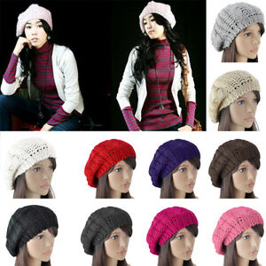 a12af1ffde27 Women Ladies Beret Winter Warm Baggy Beanie Knit Crochet Hat Slouchy ...