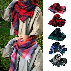 586caad212d Details about Women Long Blanket Oversized Tartan Scarf Wrap Shawl Plaid  Cozy Checked Pashmina