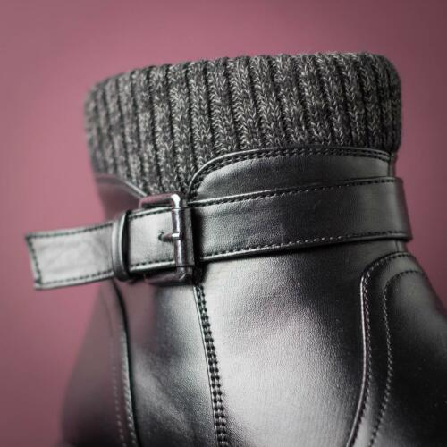 Womens Ankle Boot Knitted Trim Boot in Black by Softlites