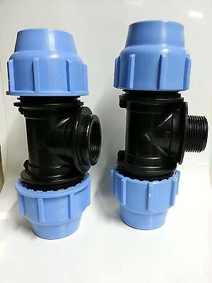 raccordo tubi polietilene TEE TI A COMPRESSIONE PP PN16-25 x /½ M x 25