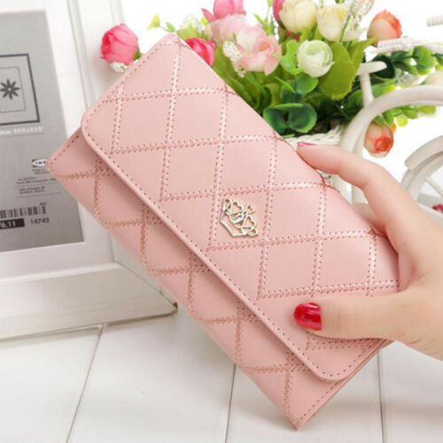 Women/'s Leather Rhombus Purse Party Solid Crown Handbag Card Long Holder Wallet