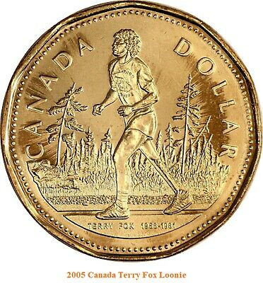 2005 Canada Loonie $1 One Dollar Terry Fox  UNC from  mint roll