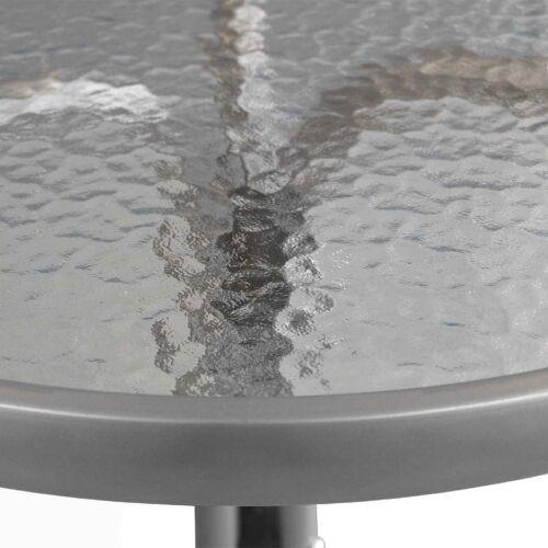 Mobili da balcone Set da Bistrot set tavolo in vetro ø60x72cm 2x IN ALLUMINIO SEDIE batch ARGENTO
