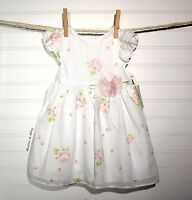 Laura Ashley Infant Toddler Girls White Dress Pastel Pink Floral 12 Months