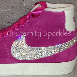 3864c244a08f Customised Hot Pink Crystal Sparkle Nike Blazers Made With SWAROVSKI ...