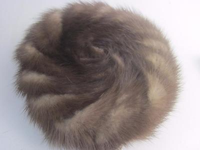 Vintage Brown Mink Pillbox Hat 1966 Patent Tag, NWT Swirl Design Tortoise Combs