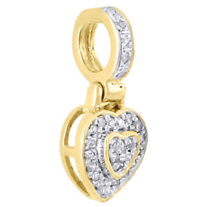 10K-Yellow-Gold-Ladies-Double-Heart-Domed-Diamond-Pendant-Pave-Charm-0-30-CT
