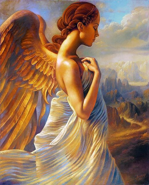 Arthur Braginsky  Angel Keilrahmen-Bild Leinwand Engel Flügel Berge Fantasy