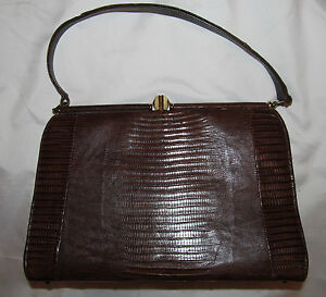 vtg 50's midcentury pin up lizard python skin box style brown hand bag purse WOW