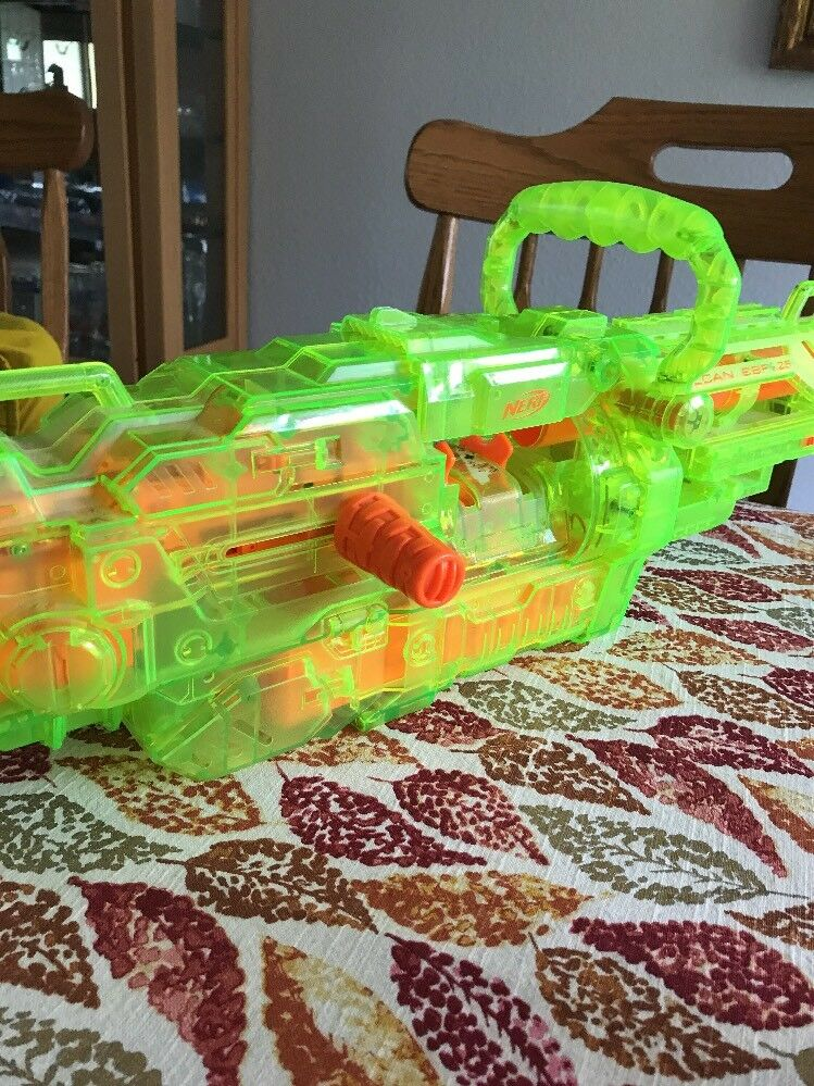 Nerf vulcan ebf-25 gun green clear see through through through excellent condition works tested. 0be46b