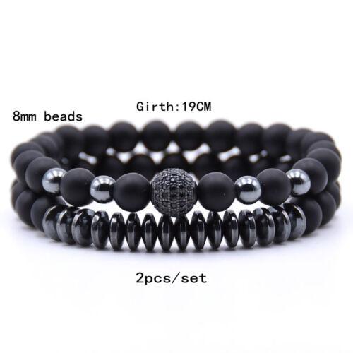 Femmes//Hommes Bracelets givré pierre naturelle noir Bouddha Perles Zircon 2PCS Set
