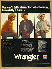1972 Wrangler Western Wear Jeans rodeo cowboys photos vintage print Ad
