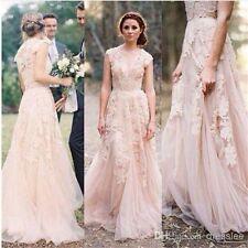 Rosa Vintage-Spitze Hochzeitskleid Brautkleider Wurfhülse Gr.36.38.40.42.44.46+
