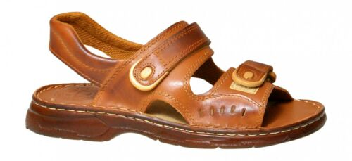 Men Natural Buffalo Leather Orthopedic Strapped Sandals Shoes Sizes 7 8 9 10 11