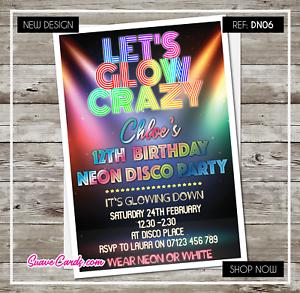 Disco Birthday Invitations Party Invites Boy Girl Personalised Neon UV GLOW