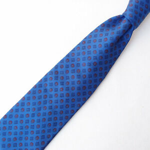 LUIGI BORRELLI NAPOLI Mens 100% Silk Neck Tie Luxury Geometric Blue Red Italy