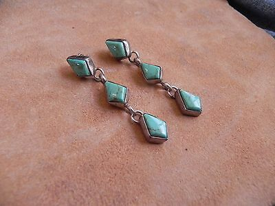 Turquoise & Sterling Silver dangle Earrings Navajo
