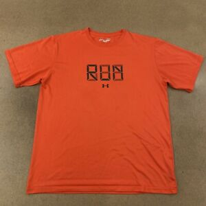 Under-Armour-Men-039-s-Size-Large-Orange-RUN-Graphic-Short-Sleeve-T-Shirt-Flaws