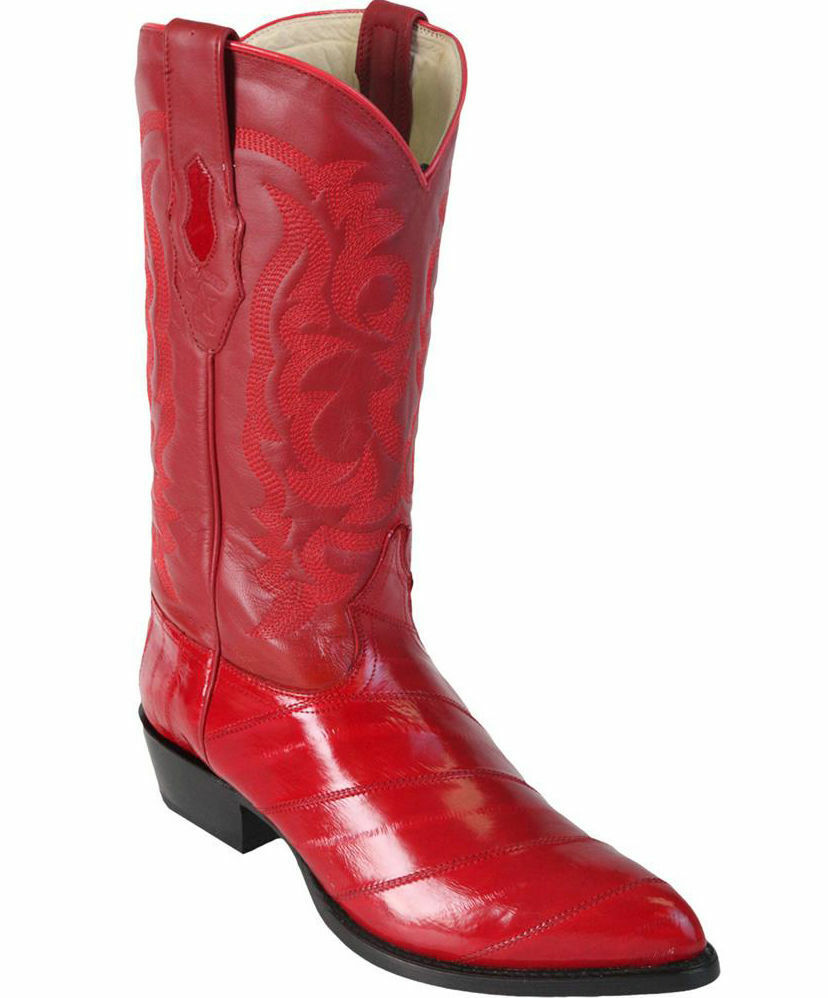 LOS ALTOS MEN RED GENUINE EEL WESTERN COWBOY BOOT J-TOE (EE) 990812