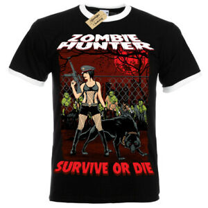Zombie-Hunter-T-Shirt-female-apocalypse-walking-pinup-sexy-dead-Mens-RInger