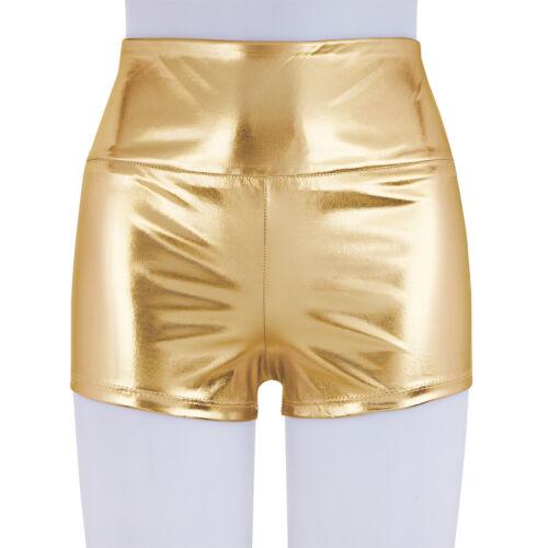 Women Metallic High Waist Shorts Hot Pants Sports Gymnastic Dance Yoga Panties