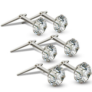 STERLING-SILVER-ANDRALOK-STUDS-WHITE-CUBIC-ZIRCONIA-ROUND-EARRINGS-3-3-5-5MM-BOX