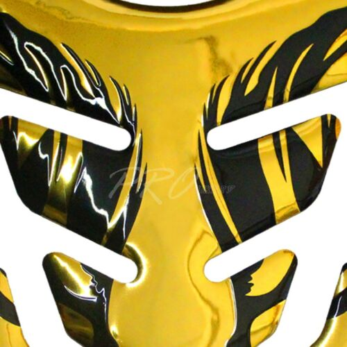 Chrome Gold Tribal Fire Fuel Tank Pad+3D Emblem Decal Sticker for Ninja ZXR ZZR