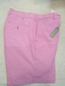Peter-Millar-Crown-Sport-Featherweight-Pink-Pincord-Stripe-Golf-Short-NWT-35-95