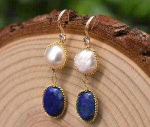B15 Dorée Boucles D'Oreilles Perle D'Eau Douce Ovale Bleu Lapis Lazuli