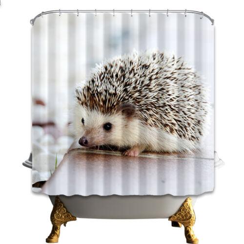 "72/"" Lovely Hedgehog Polyester Waterproof Fabric Bathroom Shower Curtain Doormat"