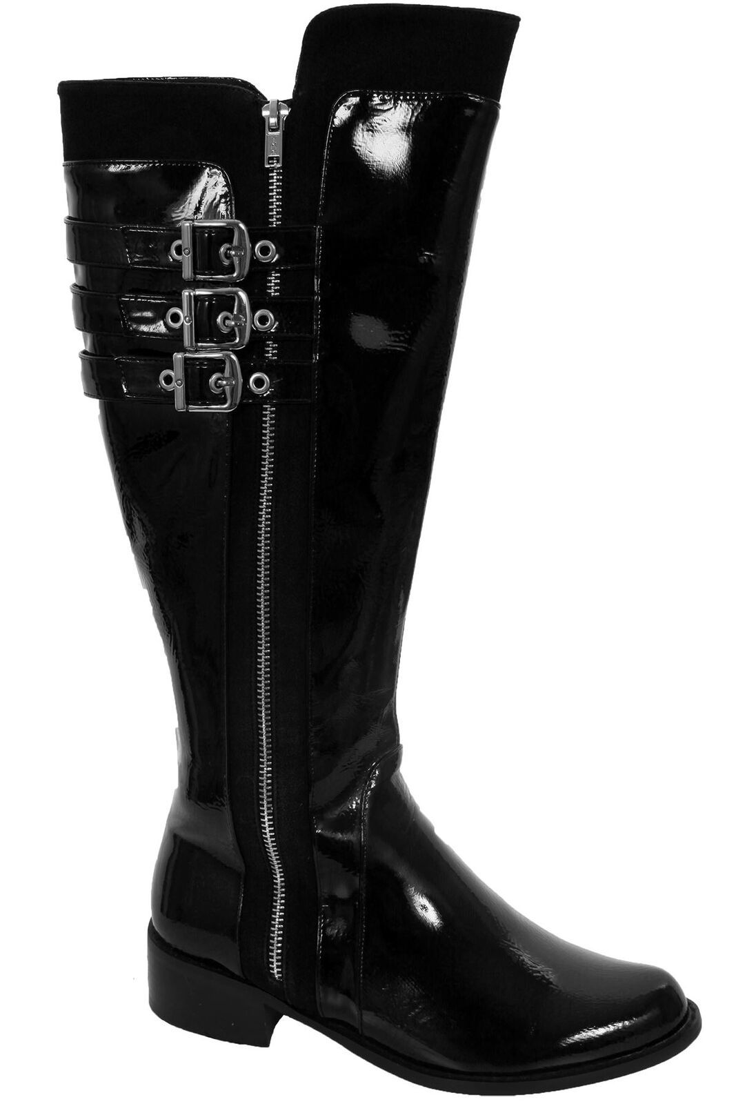 Ladies Patent Triple Buckle Buckle Buckle Strap Low Heel Women's Knee High Boots shoes 24630b
